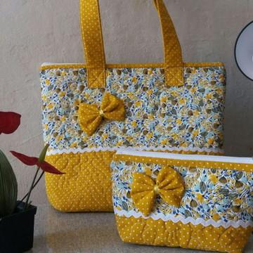 Bolsa + necessaire Amarela com laço
