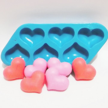 Coração 6 Cavidades - molde de silicone