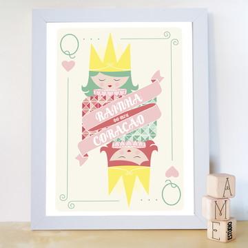 Quadro decorativo cartas Rainha de Copas
