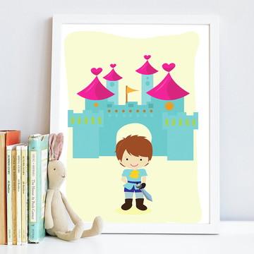 Quadro infantil Príncipe e Castelo