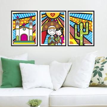 Trio de quadros Lampião e Maria Bonita