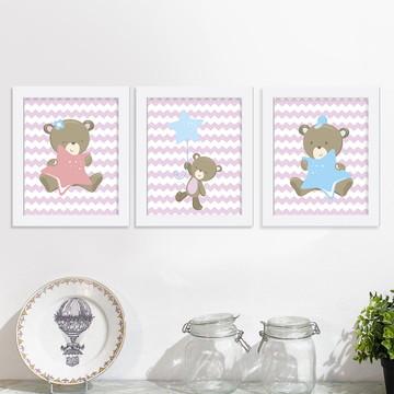 Trio de quadros Infantis Ursinhos rosa