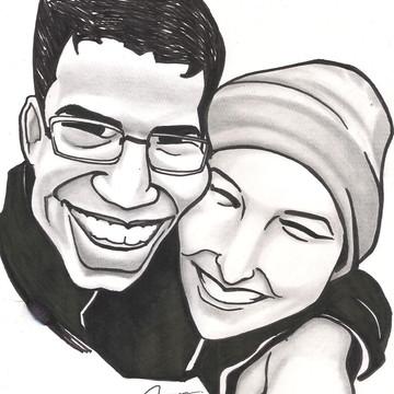 Caricatura de casal preto e branca