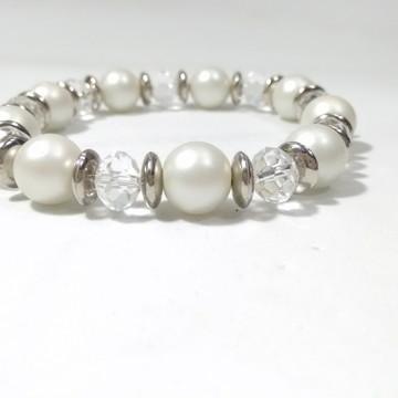 Bracelete Branco e Incolor