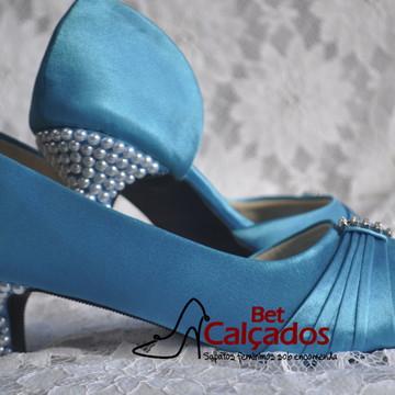 Sapato Turquesa Salto Perolas