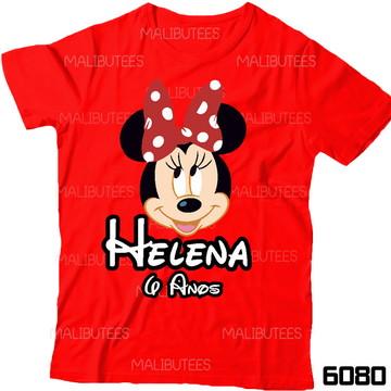 Camiseta Minnie Vermelha Aniversario infantil