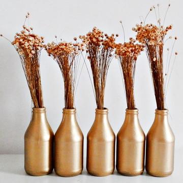 Garrafa Decorativa com Flores - Dourada