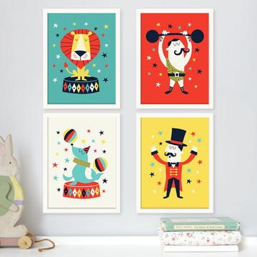 Kit 4 quadros infantis tema Circo