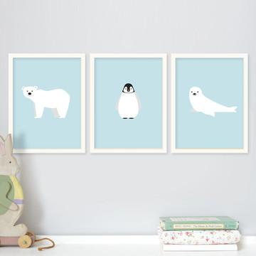 Trio de quadros infantis Polo Norte