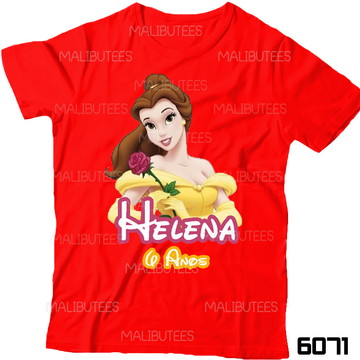 Camiseta Princesa Bela Aniversario nome