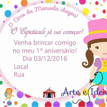 Arte Digital Convite Circo