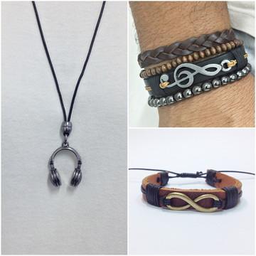 Kit Colar masculino pulseiras masculinas