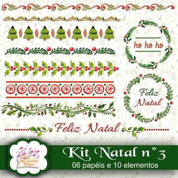 Kit digital Papéis e elementos Natal n°3