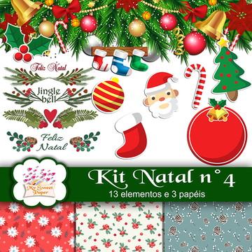 Kit digital Papéis e elementos Natal n°4