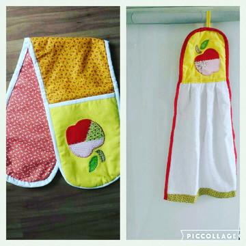 Pegador de forma e toalha de cozinha.