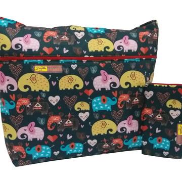 Kit Bolsa e Porta Celular Elefantes