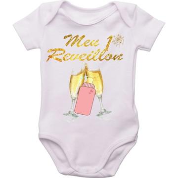 roupa bebê meu primeiro Reveillon Body personalizado