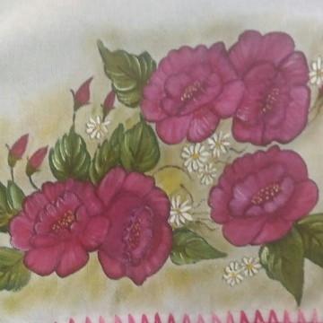 Caminho De Mesa Pintado Rosas