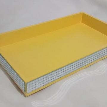 Mini Bandeja Amarela Vidrilho Espelhado