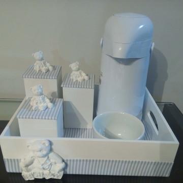 Kit de higiene urso azul e branco