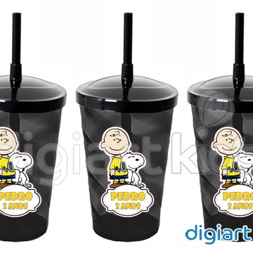 Adesivo para Copo com Canudo Shake Twister Snoopy