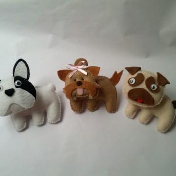 Pug, Bulldog, Yorkshire em feltro