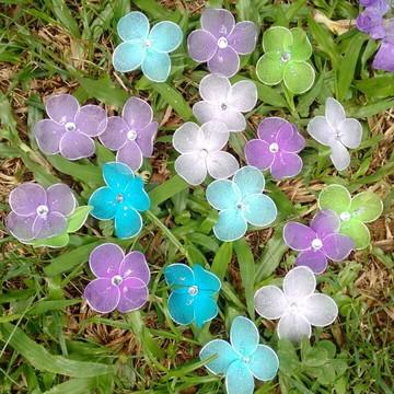 Mini flores de meia de seda