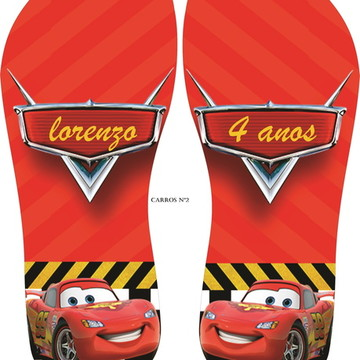 chinelos personalizado carros