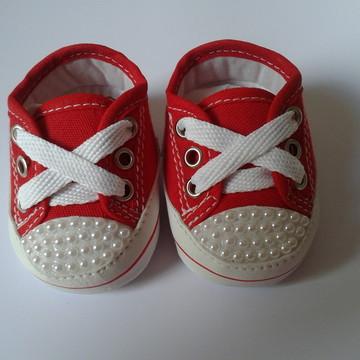 Tênis bebê estilo All Star com pérolas