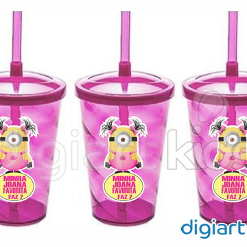 Adesivo para Copo Twister - Minions Rosa
