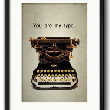 Quadro Máquina de Escrever Retrô Decoração com Paspatur