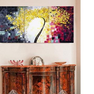 Quadro Pintura Tela Abstrato Árvores