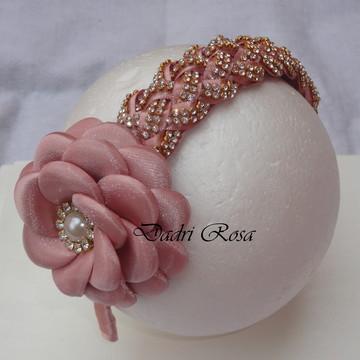 Tiara de luxo Trançada Rose