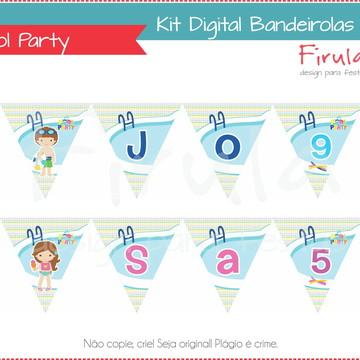 Kit Digital Bandeirolas Pool Party