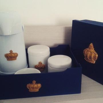 Kit Higiene 6 peças Azul com coroa