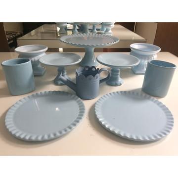 Kit festa 10 peças locação cerâmica azul