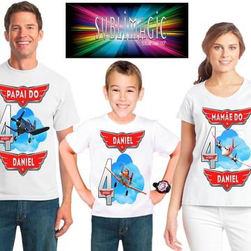 Kit 3 Camisetas Aviões