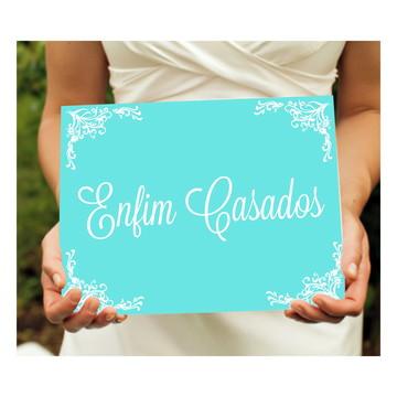 Placa Enfim Casados - Azul Tiffany