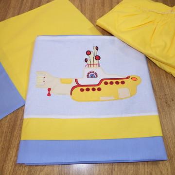 Jogo lençol berço submarino amarelo