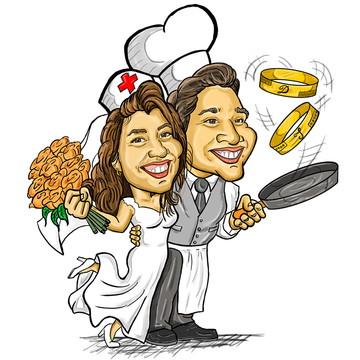 Caricatura de Noivos / Casamento