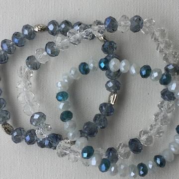 Pulseiras em cristal azul e transparente