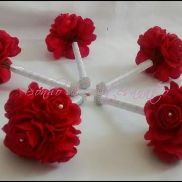 Mini Buquê para Madrinhas - Vermelho e Branco c/ Strass