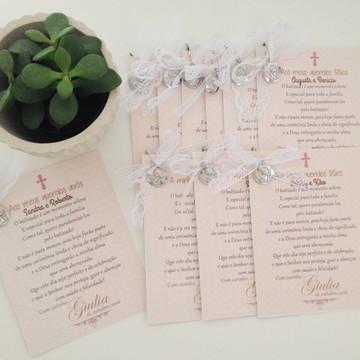 Cartão Personalizado Batizado Rosé