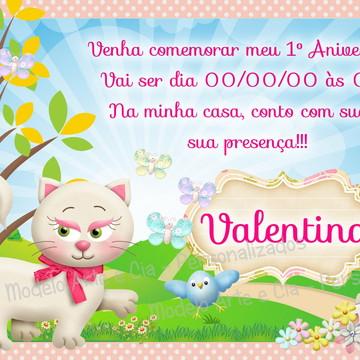 Convite Gatinha rosa