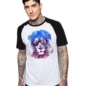 Camiseta Raglan Estampada Leao
