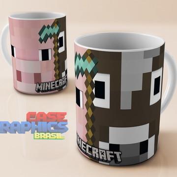 Caneca Minecraft Porco Vaca Zumbi Jogo Game Cubo Porcelana