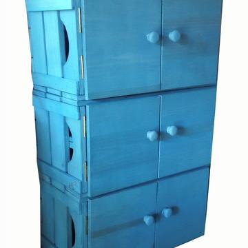 Estante de 3 caixotes com porta
