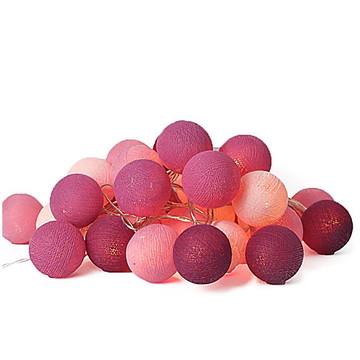 Cordão de luz 35 bolas de cotton ROSA