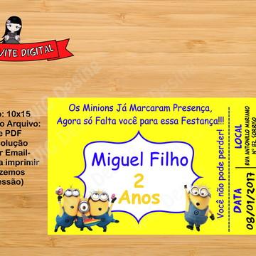 Convite Digital Ingresso Minions