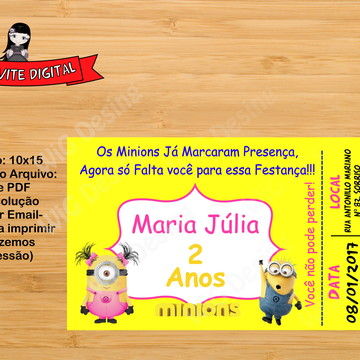 Convite Digital Minions Ingresso